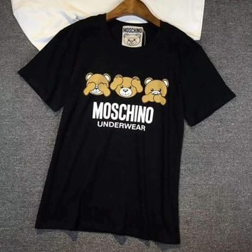 Moschino Women Fashion Bear Print Tunic Shirt Top Blouse