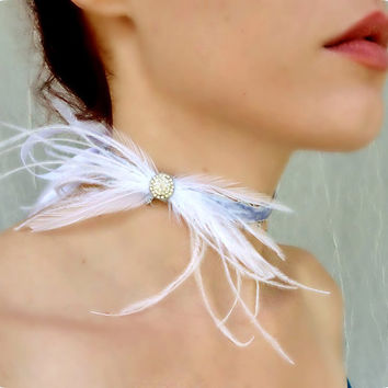 Lavender Velvet Choker - Vintage Rhinestone Feather Burlesque Bridal Wedding Prom