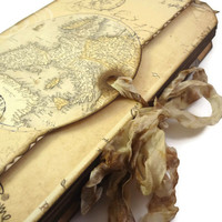Europe Travel Journal - Map Travel Log - London, Paris, Venice, Rome - Vintage Style