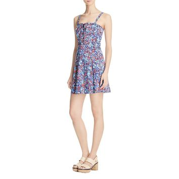 Parker Womens Athena Floral Print Lace-Up Casual Dress