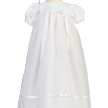 Lattice Embroidery & Satin Ribbon Organza Christening Gown (Baby Girls 3 - 18 months)