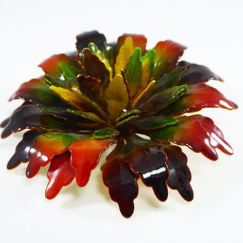 Fall Colors Enamel flower Brooch Browns, Greens Rusty Reds Golden Yellow Chrysanthemum Brooch 1960s  Mid Century Mod Vintage Carnation style