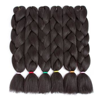 "6packs 24"" 100g Jumbo Braids Hair Extensions Synthetic Hair For Crochet Black Kanekalon Hair Extensions"
