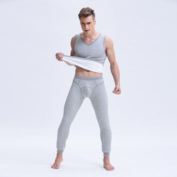 Winter Warm Long Johns Men V-neck Sleeveless Thick Vest Underwear Male Tight Thermal Underwear Undersuit Pouch Pants Trousers