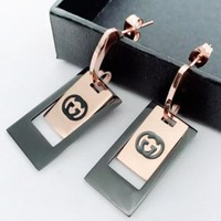 GUCCI Fashion Letter Square Long Earring Women Accessories