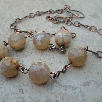 Copper Necklace with Wire Wrapped Beige Gemstones Handcrafted Link Chain