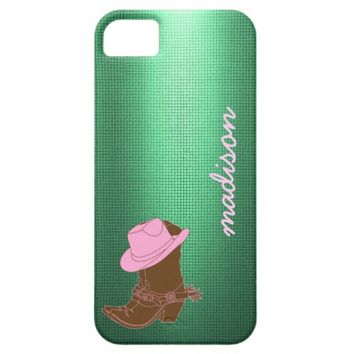 Cute Cowgirl phone; boot w/ hat on Mint, add name
