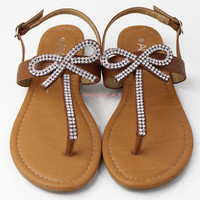 Bowing Out Tan Bow Sandals