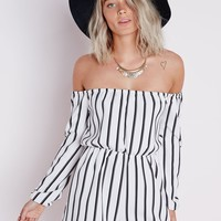 Missguided - Striped Bardot Romper White