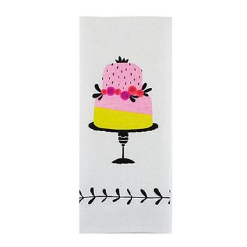 Piece Of Cake Tea Towel in Sweet Pink and Yellow