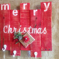 Merry Christmas Stocking Holder Made from Repurposed Rustic Pallet Wood