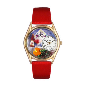 Whimsical Watches Healthcare Nurse Gift Accessories Wine & Cheese Red Leather And Goldtone Watch