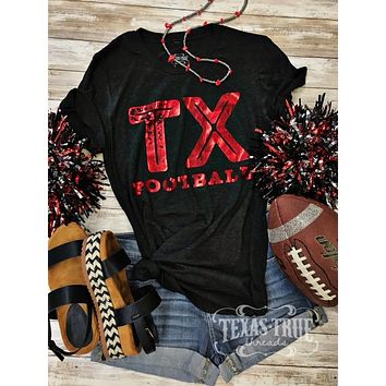 Red Foil TEXAS Football Graphic Tee (S-2XL)