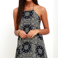 Bandita Midnight Blue Print Halter Dress