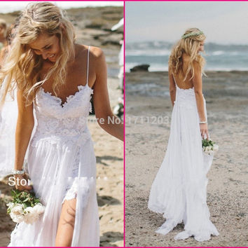 Snazzy 2017 Lace Chiffon Beach Wedding Dresses High Slit Spaghetti Strap Sexy Romantic Wedding Brial Gowns Vestido De Casamento