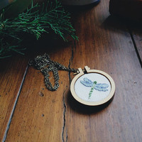 "FIREFLY Cross Stich NECKLACE Handmade 4cm 1'6"" wood hoop Shabby nature bug chic cute rustic Gift Women Mother Medusa Dollmaker"