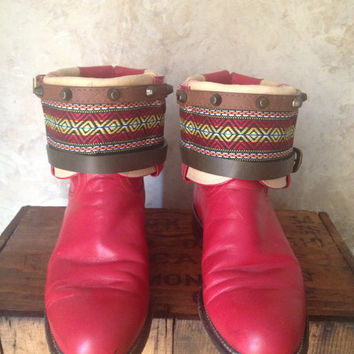 JUSTIN red upcycled western cowboy boots womens size 7