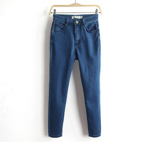 Summer Denim Stretch Slim Jeans Skinny Pants Cropped Pants [4920639684]