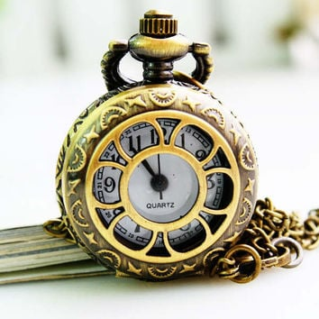 1PC Antique Bronze Pocket Watch Necklace Chain Pendant Long !ONS = 4481859396