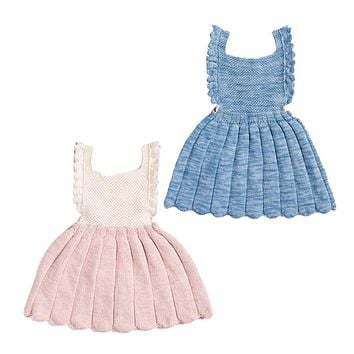 Newborn Fashion cute baby rompers girls clothes knitting Cotton vest solid infant jumpsuit lace princess