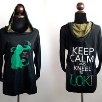 """Loki hoodie:black and olive green Hoodie with I""""m not your brother and keep calm and kneel to loki Sweatshirt long sleeve"""