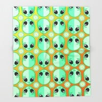 Happy Alien and Daisy Nineties Grunge Pattern Throw Blanket by Chobopop