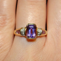 Art Deco Amethyst and Diamond ring sz 7