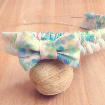 Pastel Dots Woven Ribbon Headband with Bow