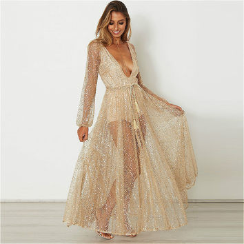 Dress for Wedding Women Long Sleeve Vintage Elegant Maxi Dress 2017 Summer Sexy Party Beach Mesh V-neck Robe Vestidos Feminino