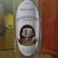 20 Ounce Pure Soy Candle in Reclaimed Piece of Cake - Chocolate Cake Liqueur Bottle - Your Choice of Scent