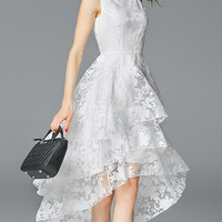 Crew Neck Beach Sleeveless Floral Organza Midi Dress - StyleWe.com
