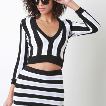 Shimmer Vertical Stripe Crop Top