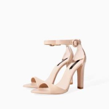 ZARA NUDE LEATHER ANKLE STRAP WIDE HIGH HEEL SANDALS SHOES SIZE UK6 US8.5 EUR39