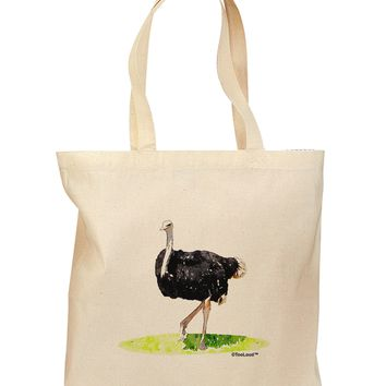 Ostrich Watercolor Grocery Tote Bag