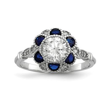 925 Sterling Silver Rhodium-plated Cubic Zirconia and Synthetic Blue Sapphire Flower Ring