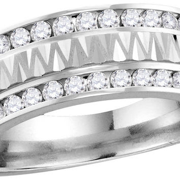 14kt White Gold Mens Round Diamond Grecco Band Wedding Anniversary Ring 1.00 Cttw 114550