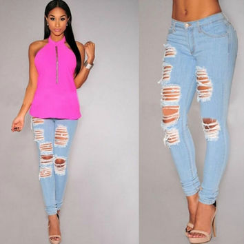 WOMEN'S HIGH WAIST JEANS SKINNY BUTTOCK DENIM JEANS 588
