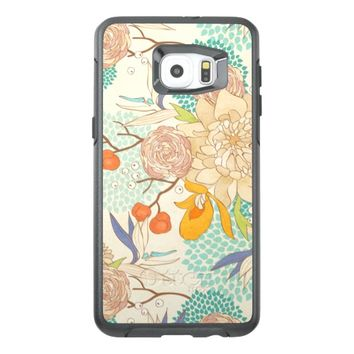 Trendy Modern Rose Peony Flower Pattern OtterBox Samsung Galaxy S6 Edge Plus Case