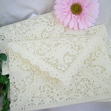 Doily Envelopes Lace Paper Vintage Inspired  by AllThingsAngelas
