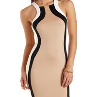 Color Block Bodycon Dress by Charlotte Russe - Black Combo