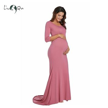 0f417fca2cd Maternity Photography Props Pregnancy Clothes Maxi Maternity Dresses for  Photo Shoot Cotton Long Dress Pink White