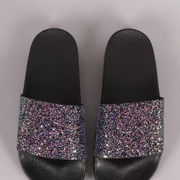 Encrusted Iridescent Glitter Open Toe Slide Sandal