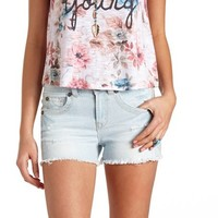 Embroidered High-Waisted Cut-Off Denim Shorts