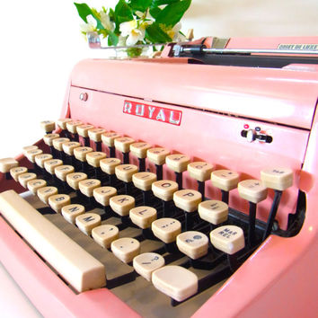 pink typewriter royal typewriter vintage typewriter typewriter 1950s typewriters 1960s decor mid century royal de luxe royal deluxe