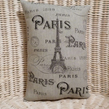 "Paris with Eiffel Tower 11"" x 8""  Small Pillow my own unique design..high quality fabrics and sewing"