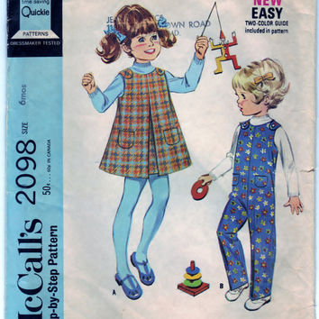 McCalls 2098 Pattern DIY Toddlers Jumper and Coveralls Vintage Sewing Craft Supply