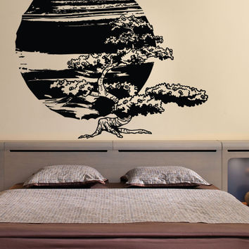 Vinyl Wall Decal Sticker Bonsai Tree with Sun #1244