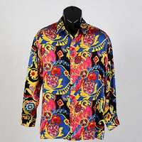 Men's Vintage 80s Georges Marciano Guess Silk Prom Shirt 1980s Rad Pimp Club Disco Bedazzeled Jewel Design New Wave Shirt size M Medium