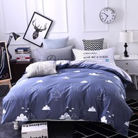Duvet Cover Set Cotton Queen Size Luxury Bedding Sets Bed Sheet Set Linens Bed Grey Bedclothes