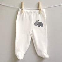 Hippo cotton baby pants for baby boy or baby girl